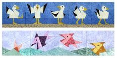 Parading Seagulls and Happy Fish Paper-Pieced Quilt Pattern at Paper Panache. Instant download $6.00 US.