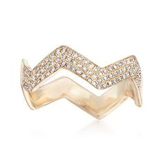 Ross-Simons - .27 ct. t.w. Diamond Wavy Ring in 14kt Yellow Gold - #844335