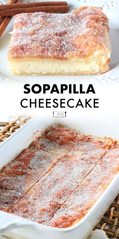 Surpass all dessert expectations with this easy Sopapilla Cheesecake Bar recipe! These layered cheesecake bars are the absolute best and can easily be whipped up assembled and baked with just a few simple steps! Mexican Dessert Recipes, Best Dessert Recipes, Sweet Recipes, Mexican Cheesecake Recipe, Best Desserts, Bar Recipes, Healthy Cheesecake Recipes, Dump Cake Recipes, Fall Desserts