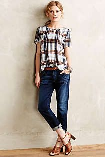Anthropologie - Draped Plaid Top
