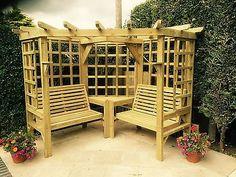 Corner Arbour Wooden Corner Seat Garden Arbour Seat Pergola Trellis Benches