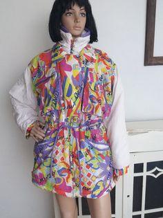 9d68f89a19 Vintage Ski Jacket Loud Print Multicolored Warm Winter Jacket 90s Sportswear