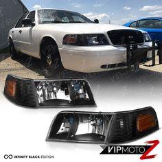 1998 2017 Ford Crown Victoria 4pc Combo Black Signal Corner Headlight Headlamp Vipmotoz