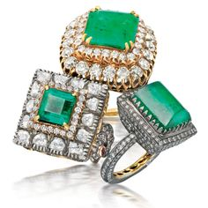 Trio of Emerald Rings Emerald & diamond rings set in silver & gold. By Amrapali Jewels Jaipur. The Panna Collection.