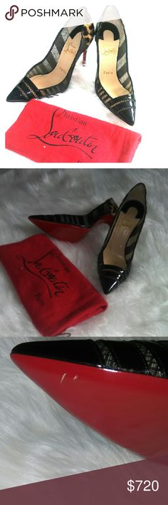 Christian Louboutin Shoes Never been worn outside tried it several times in the house hoping it will fit me but as I mentioned before.. I bought lots of shoes while I was pregnant and some of them aren't fitting me anymore. The colored peeled because I was walking in the house and hit with something hard. Box dust bag and extra heels included. Bought at a full price from Saks Christian Louboutin Shoes Heels