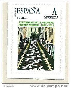 Sello conmemorativo Alfombras de La Orotava. Tenerife, Islas Canarias.