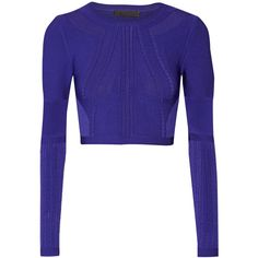 Cushnie et Ochs Cropped stretch-knit top (2.615 BRL) ❤ liked on Polyvore featuring tops, crop top, blue, blue crop top, slimming tops, cushnie et ochs and blue top