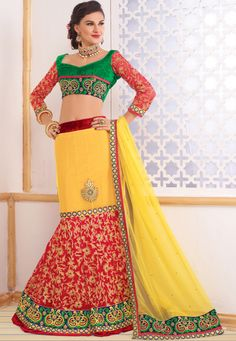 Yellow And Maroon Net Lehenga with Green Velvet And Embroidered Worked Sleeves Choli And Lemon Net Dupatta  INR:-9030 -With Exciting 25% Discount !