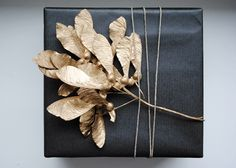 gold spray painted leaves (also works well with brown paper - see other photos as well)