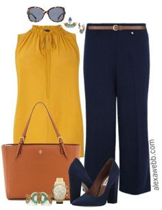 Plus Size Navy Trousers Work Outfit - Plus Size Work Outfit Idea - Plus Size Fas. - Plus Size Work Outfits Work Fashion, Curvy Fashion, Trendy Fashion, Plus Size Fashion, Fashion Trends, Fashion Ideas, Women's Fashion, Feminine Fashion, Plus Size Work