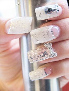 20 Classy Wedding Nail Art Designs - Be Modish Funky Nails, Cute Nails, Pretty Nails, Colorful Nails, Bride Nails, Wedding Nails, Gel Nails, Nail Polish, Bridal Nail Art