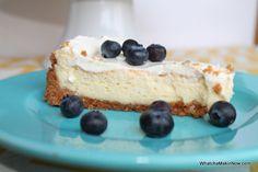 New York Style Cheesecake - cream cheese, lemon peel, topping of sour cream/sugar. @whatchamakinnow