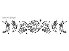 """""""Moon phases, but with flowers"""" by Emma Rage : WitchesVsPatriarchy Mini Tattoos, Body Art Tattoos, Tattoo Drawings, New Tattoos, Small Tattoos, Cool Tattoos, Tatoos, Mirror Tattoos, Elbow Tattoos"""