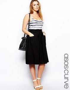 ASOS CURVE Midi Skirt In Linen
