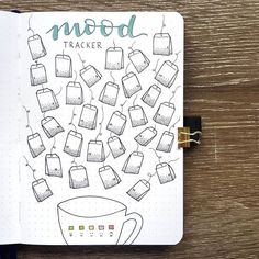 Tea mood tracker 🍵 I still haven't finished my August cover, but I wanted to share the photo I had of my mood tracker anyway! Bullet Journal Tracker, Bullet Journal Cover Page, Bullet Journal Notebook, Bullet Journal School, Bullet Journal Layout, Bullet Journal Inspiration, Bullet Journal Monthly Spread, Bullet Journal Headers, Bullet Journals