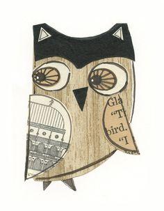 Roman Henry 5x7 collage owl LIL ART CARD by 29blackstreet