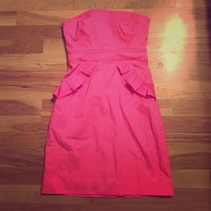J Crew Pink Summer Pink | Style Number 41644 | Short | Ruffles on Front and Pockets J.Crew Factory Dresses Strapless