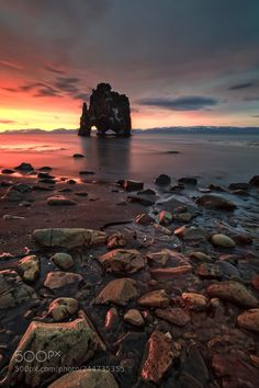 The rock ~ Iceland by wim denijs on Landscape Photos, Landscape Photography, Travel Photography, Nature Photography, Beach Rocks, Midnight Sun, Iceland Travel, Day For Night, Cool Landscapes