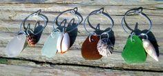 Hawaiian Multi-Color Beach Glass and Shell Wine Glass Charms (Set of 4). Handmade with Aloha. $40.00