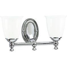 Feeling nostalgic for simpler times? The Victorian Collection helps you create a vintage look in any room. This Polished Chrome two-light bath fixture is boldly simple with pure white, triplex opal glass shades and precise metal fittings. Coordinates with Delta Faucet fixtures to provide a whole-room decorating solution. This fixture can be installed with the glass facing up or down to suit your preference.