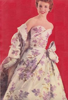 Christian Dior 1955 50s floral evening gown white lavender purple bow shawl wrap