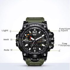 Open-Minded Men Multifunction Water Resistant Watches Travelling Light Led Watch Digital Wristwatches Ll@17 Top Watermelons Watches
