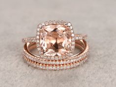 Morganite Engagement ring set,Rose/Yellow/White Gold.Every Jewelry in my store needs making to order.Matching band can be made for the gemstone ring. If you have the stone,you can ask me custom make the ring setting.------Item details:Solid 14K Gold(Gold color can be made in white/yellow/rose)Size 5#(Ring can be resized)Band width approx 1.4mm8x8mm Cushion Cut 2.2ctw VS Natural Morganite0.32ct Round Cut SI/H Natural Conflict Free Diamonds.Prong,Pave Set2pcs Matching B...