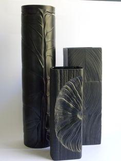 black porcelain ( porcelaine noire) vases designed by Martin Freyer from MidCenturyFLA