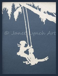 Boy and Girl On Country Swing - Children - Decor - Scherenschnitte - Hand Paper Cutting Art signed and dated By Janet Lynch - Frame Included by ArtGalleryRiverRd on Etsy https://www.etsy.com/listing/243789690/boy-and-girl-on-country-swing-children