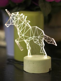 Unicorn lamp, decorative table lamp, unicorn night light, woodland decorative lamp. Cool To try yourself with laser cutting. #diy #lightingdesign