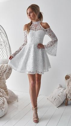 A-Line High Neck Bell Sleeves Cold Shoulder Above-Knee White Homecoming Dress ad. fashion bell sleeves homecoming dress, elegant white lace homecoming dress, chic A-line short party dress, modern cold shoulder summer dress White Homecoming Dresses, Hoco Dresses, Cute Dresses, Evening Dresses, Pretty Dresses For Teens, Sexy Dresses, White Short Dress Graduation, Semi Formal Dresses For Teens, Prom Dress