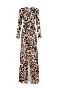 Abito in jersey stampa micro giraffa Scollatura a V arricciata Manica lunga  Chiusura con zip invisibile posteriore Taglio lungo a sirena Vestibilità ... c9a0676b067