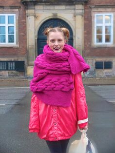 Giant cabled/seed stitch wrap.  Face Hunter: COPENHAGEN - fashion week aw 13, day 2, 02/01/13#