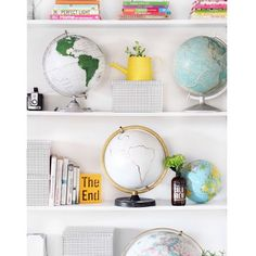 white color palette with bold accents and globes