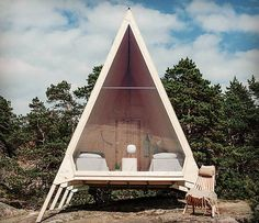 Zero-emission A-frame Nolla Cabin by Finnish designer Robin Falck. Photo by Robin Falck. #scandinavian #architecture #sweden #robinfalck…