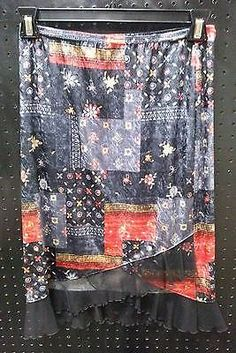 Exact Change Black Gray Floral Tribal Below Knee Skirt Tulle Size Medium B260