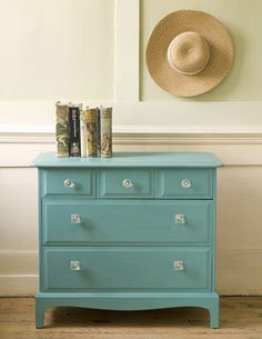 Annie Sloan's Provence Chalk Paint™ decorative paint on this furniture chest. House & Home magazine.  This is the color I did the entry way dresser.