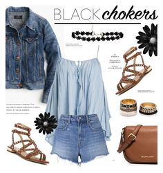 """""""black chokers"""" by cly88 ❤ liked on Polyvore featuring J.Crew, Sans Souci, T By Alexander Wang, Sam Edelman, MICHAEL Michael Kors, Forever 21, Tiffany & Co. and blackchokers"""