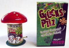 Fliegenpilz-Tischknaller in Geschenkverpackung Shops, Partys, Fireworks, Wrapping Gifts, Birthday, Tents, Retail, Retail Stores