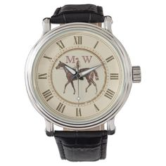 Monogrammed Vintage Equestrian Wrist Watch - individual customized unique ideas designs custom gift ideas