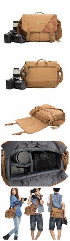 Waxed Canvas DSLR Camera Bag, Messenger Bag, Diaper Bags