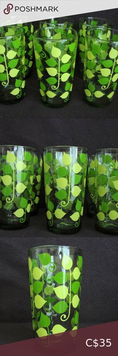 """Vintage Green Tall Glasses ~ Set of Six ~ PERFECT! Vintage Green Tall Glasses ~ Set of Six ~ PERFECT!!! ~ Glasses measure 5.25"""" in height by 2.75"""" in width You will love these 6 vintage glasses!!! They feature green and yellow leaves on stems on a green coloured glass. These are perfect for serving up juice, lemonade or your favourite cocktail. They are in excellent condition which is very rare for vintage items ~ no chips or cracks. Vintage Glass Dining Drinkware"""