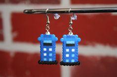 Doctor Who Tardis Perler Bead Sprite Earrings