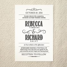 DIY Wedding Invitation - Handlettered Rustic Love - Printable PDF Template - Instant Download. $25.00, via Etsy.