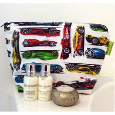 Hot Wheels Wash Bag available at KidsDoTravel #handmadeintheuk #travellingwithchildren #familytravel #hotwheels