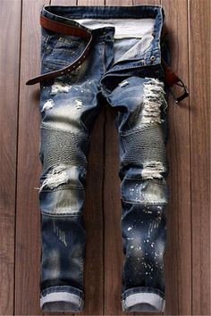 $25.71 Ruched Design Destroy Washed Moto Jeans http://www.99wtf.net/men/mens-fasion/african-mens-clothes/