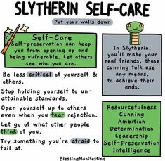 What's your Hogwarts House self-care? Check out the self-care ideas for Hufflepuff, Ravenclaw, Slytherin, and Gryffindor! Magie Harry Potter, Mundo Harry Potter, Slytherin Harry Potter, Slytherin Pride, Slytherin House, Slytherin Aesthetic, Harry Potter World, Harry Potter Memes, Ravenclaw