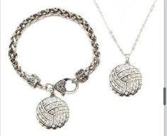 Volleyball necklace and bracelet :-) Volleyball Jerseys, Volleyball Mom, Softball, Volleyball Necklace, Motivational Gifts, Jewelery, Pendant Necklace, Bracelets, Necklaces