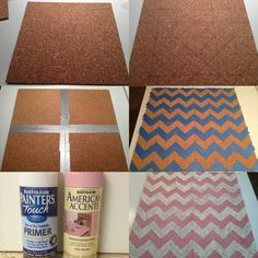 DIY bulletin board cork tiles for $7.99 at OfficeMax, sketch your pattern, duct tape the backs together, tape it, then spray it, viola!