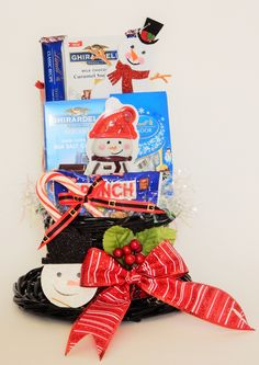Frosty the Snowman Hat Snack Gift Basket Snowman Hat, Frosty The Snowmen, Business Profile, Novelty Items, Gift Baskets, Floral Arrangements, Party Favors, Custom Design, Gifts
